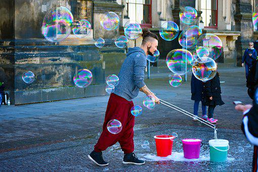Street, Artist, Bubble, Colorful