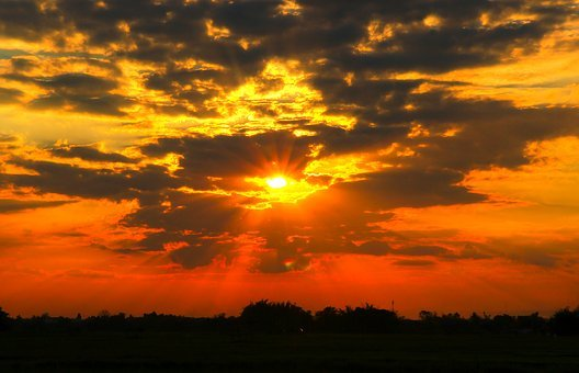 Sunset, Sky, Background, Sunrise, Nature, Blue, Yellow