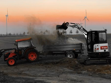 Tractor, Trailers, Excavators, Orange, Agriculture
