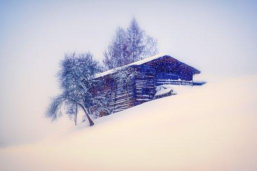 House, Snow, Winter, Landscape, Tree, Light, Snowflakes