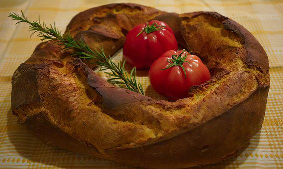 Bread, Tomatoes, Rosemary, Homemade, Rustic Bread, Food