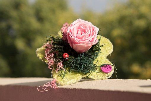 Bouquet, Flowers, Rose, Wall, Decoration, Ladybug