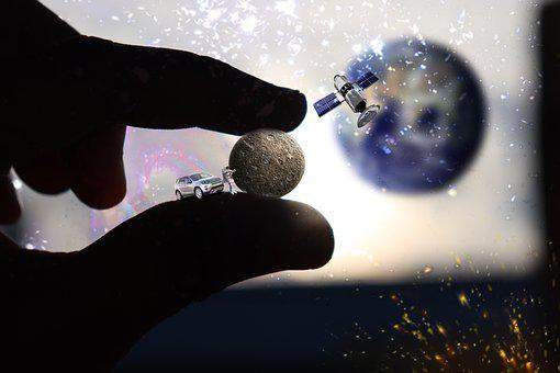 Moon, Stars, Cars, Sattelite, Earth, Galaxy