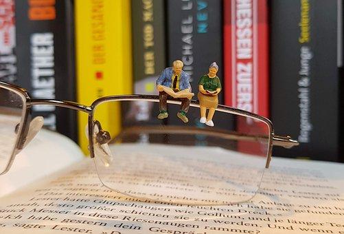 Book, Read, Miniature Figures, Glasses, Pensioners
