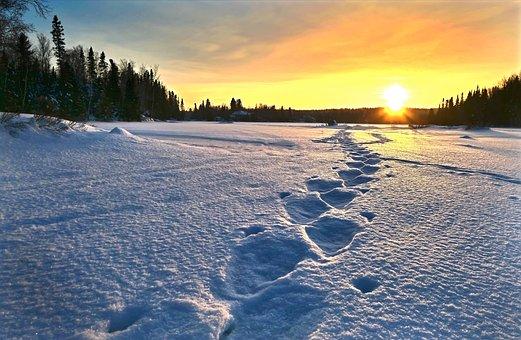 Sunset, Landscape, Nature, Snow, Twilight, Colors, Calm