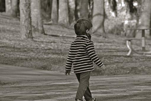 Child, Boy, Person, Pullover Striped, Park