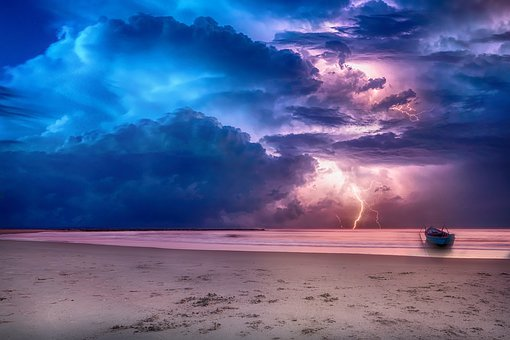 Sea, Sky, Clouds, Storm, Ray, Barca, Sand