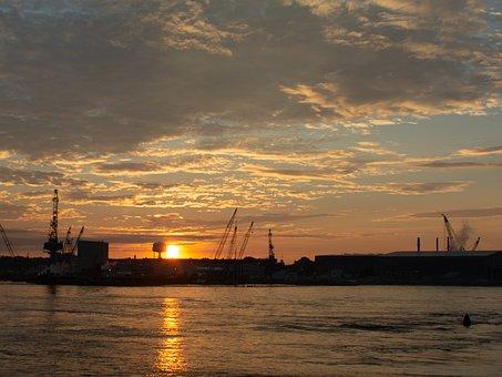 Sunrise, Portsmouth, Nh, New England, Shipyard, Navy