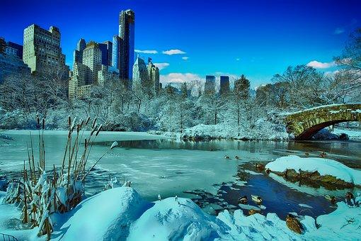 New York, Central Park, Winter, Manhattan, Skyline