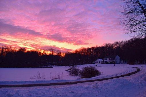 Sunset, House, Snow, Light, Landscape, Color