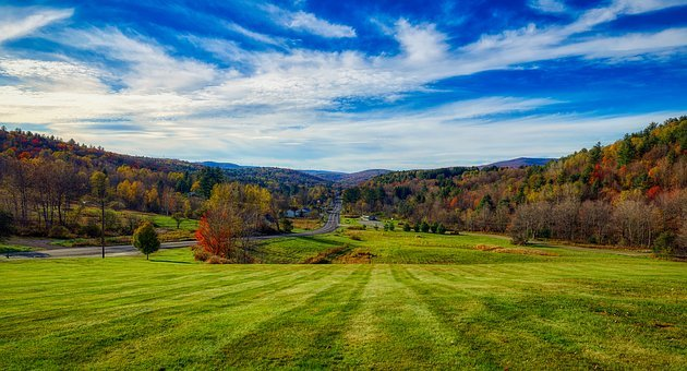 Vermont, America, New England, Sky, Clouds, Landscape