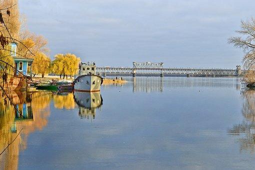 Ship, River, Ukraine, Water, Landscape, Transport, Sky