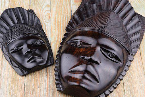 African, Head, Face, Black, Male, Wood, Hand Labor
