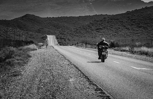 Road, Black White, Motorcyclist, South Africa, Asphalt