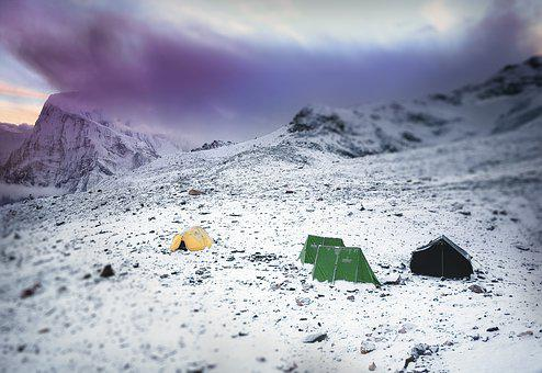 Mountains, Mountaineering, Tents, Stock, Basecamp