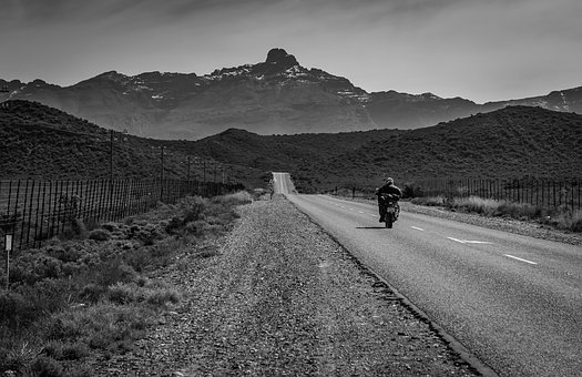 Black White, Road, Motorcyclist, South Africa, Asphalt