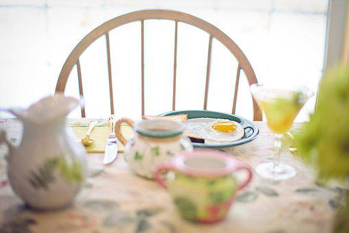 Breakfast, Fried Egg, Coffee, Table, Table Setting
