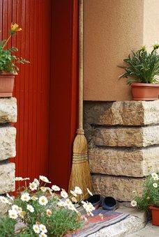 Broom, Door Step, Flowers, Neighborhood, Home, Entrance