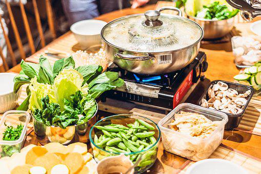 Hot Pot, Table, Veggies, Pot, Hot, Food, Asian, Cooking