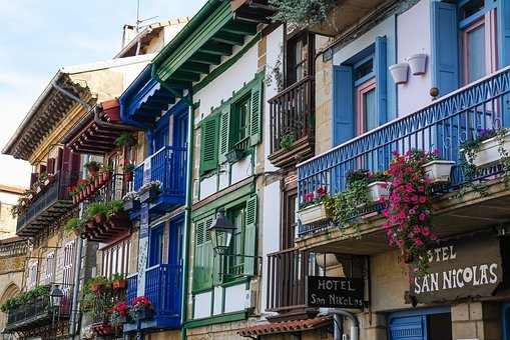 Houses, Facade, Balcony, Balcony Plants, Row