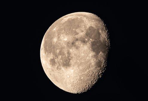 Moon, Slimming, Illuminated, Ache, Dark, Night, Sky
