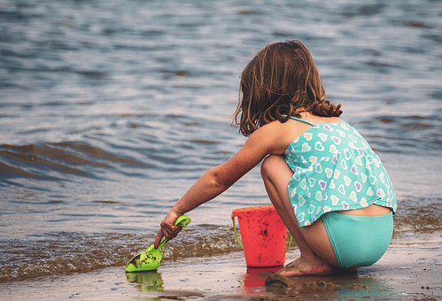 Girl, Play, Sand, Sea, Vacations, Water, Joy, Child