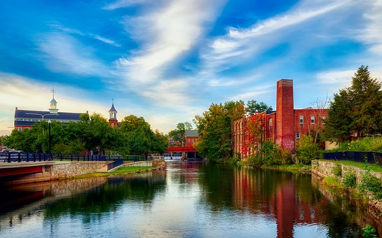 Laconia, New Hampshire, America, River, Reflections