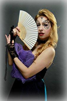Fan, Geisha, Image, Cosplay, Woman, Girl, Makeup