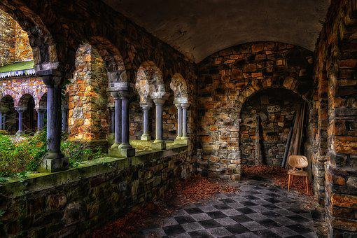 Monastery, Cloister, Gang, Church, Middle Ages