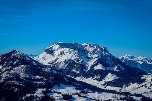 Mountain, Alpine, Mountains, Sky, Winter, Blue
