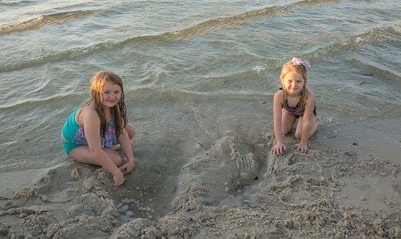 People, Person, Children, Girls, Portrait, Sand