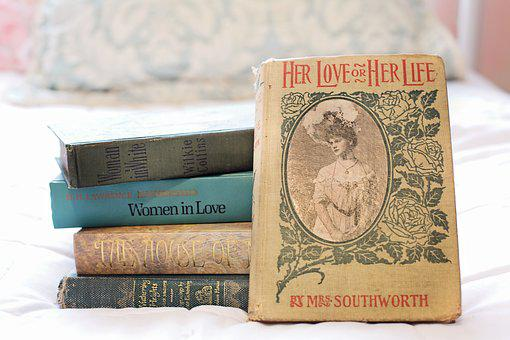 Stack Of Books, Vintage Books, Women's Novels, Reading