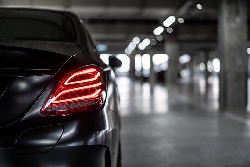 Car, Light, Rear, Red, Benz, Mercedes, Black, Dark