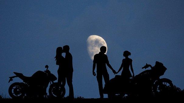 Night, Moon, Couples, Motorcycles, Romance, Dark