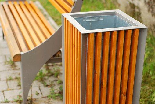 Bench, Rubbish Bin, Seat, Disposal, Outdoor, Garbage