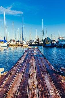 Marina, Boats, Empty, Dock, Ocean, Sailing Vessels