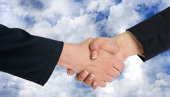 Handshake, Shaking Hands, Clouds, Cooperation