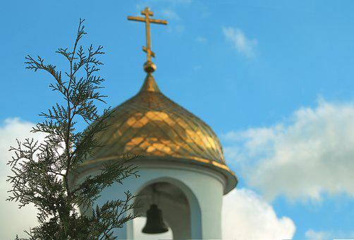 The Dome Of The Church, Sky, Bell, Cross, Clouds