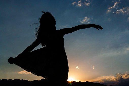 Silhouette, Woman, Girl, Sunset, Sunrise, Sky, Twilight