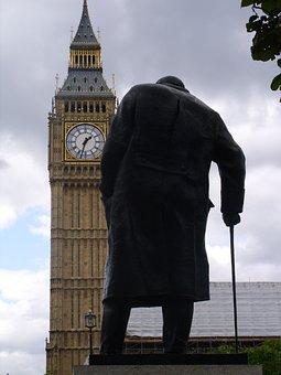 Big Ben, Churchill, Statue, Westminster, Clock, England
