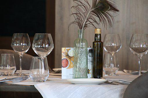Glasses On A Table, Restaurant, Wine Glasses, Wine