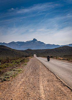 Road, Motorcyclist, South Africa, Asphalt, Mountains