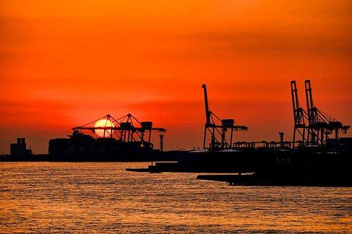 Osaka, Container, Sunset, Crane, Harbor, Bay, Machine