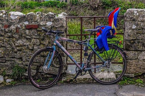 Bicycle, Bike, Wall, Baby Seat, Bike Baby Seat