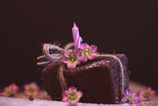 Brownie, Cake, Pastries, Candle, Birthday Candle