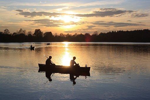 Lake, Water, Canoeing, Boat, Human, Evening Sun, Sunset