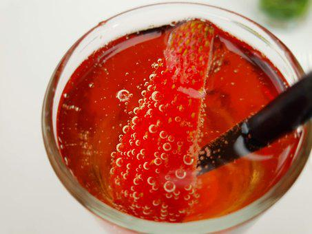 Drink, Cocktail, Strawberry, Mojito, Bubbles, Red