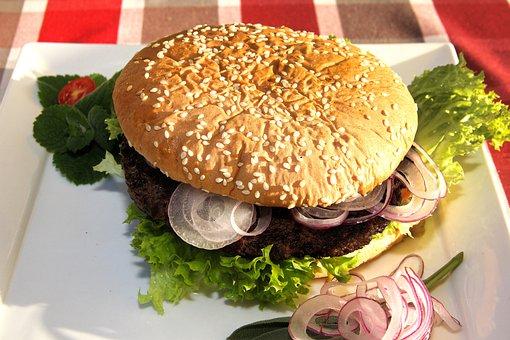 Burger, Bread, Hamburger, Roll, Sandwich, Eat, Beef