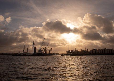 Port, Sky, Hamburg, Elbe, Clouds, River, Crane