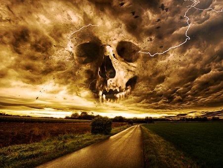 Horror, Macabre, Fantasy, Dark, Gothic, Storm, Skull